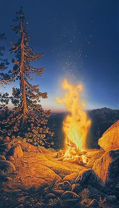 """""""Sunset Fire"""" by Stephen Lyman - The season is late summer and all the snow has melted from the mountains. So the campfire was not built to create warmth but for the sheer enjoyment of seeing its simple beauty. The fire is blazing and very hot. The viewer is close to it for an immediate experience right in front of you.  It's a campfire during sunset in the mountains. The setting is not any one place but a combination of landscape elements from Yosemite."""