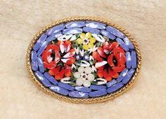 Vintage Italian Orange Red Flower Blue Mosaic Tile Floral Brooch Pin