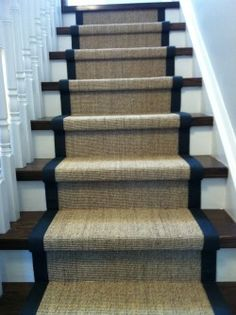stairs to basement Sisal Stair Runner, Staircase Runner, Stair Runners, House Stairs, Carpet Stairs, Stair Renovation, Stair Makeover, Hall Runner, Home Stairs Design