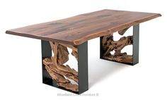 Twisted Trails Live Edge Rustic Dining Table from Woodland Creek Log Furniture Live Edge Furniture, Metal Furniture, Rustic Furniture, Silver Furniture, Furniture Removal, Furniture Ideas, Modern Furniture, Antique Furniture, Furniture Cleaning