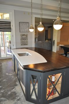 Concrete Wood, Polished Concrete, I Chef, Benjamin Moore Paint, Wood Countertops, Counter Top, Kitchens, Table, Home Decor