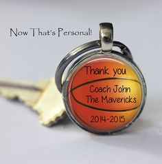 CUSTOM BASKETBALL Keychain  Thank you coach  by NowThatsPersonal