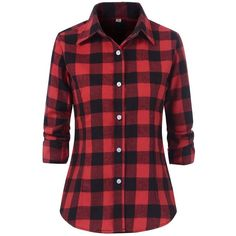 Benibos Women's Check Flannel Plaid Shirt (62 PLN) ❤ liked on Polyvore featuring tops, shirts, checked shirt, red checked shirt, plaid top, red tartan shirt and red top