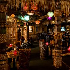 When you walk into this bar, you'll think, Whoa, it's dark in here. Once you grow accustomed to the permanent twilight, you discover you're amid thatch, bamboo, woven grass panels, and carved tiki heads. Try the Lava Letch, with a lush raspberry taste that tangos nicely with ginger beer.