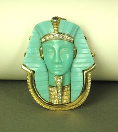 Vintage Egyptian Revival Jewelry inlay Turquoise
