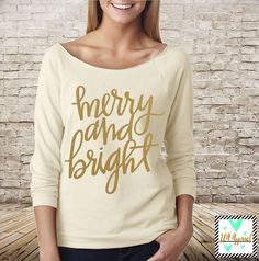 Merry and Bright  Christmas Shirt  Winter Shirt  by JandAApparel