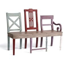 Artisan Bench-take three chairs and make a bench seat across. conversation piece for entryway, porch or garden