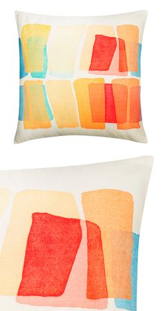 The soft hues of a sunset add radiance wherever you need it. Our Sunset Pillow is woven by hand with 100% cotton. Made in India. Dry clean only.  Find the Sunset Pillow, as seen in the Vibrant Mid-Century Modernism Collection at http://dotandbo.com/collections/vibrant-mid-century-modernism?utm_source=pinterest&utm_medium=organic&db_sku=121041