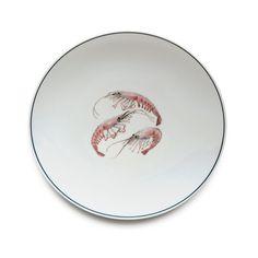 Jersey Pottery Seaflower Shrimp Dinner Plate #JerseyPottery #ceramics #pottery #shellfish #marine