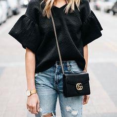 Black short bell sleeves top