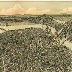 BirdsEye drawing of Boston, circa 1899