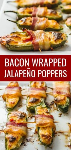 These homemade oven baked jalapeno poppers are wrapped in bacon and stuffed with a cream cheese and cheddar filling -- only 5 ingredients. This is an easy and healthy recipe that is low carb and keto. One of the best simple appetizers no frying needed. Cream Cheese Stuffed Peppers, Stuffed Jalapenos With Bacon, Stuffed Peppers Oven, Low Carb Appetizers, Appetizer Recipes, Simple Appetizers, Appetizer Ideas, Couscous, Bacon Wrapped Jalapeno Poppers