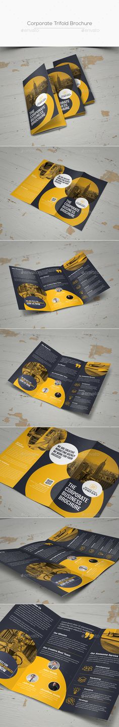 Buy Trifold Brochure by on GraphicRiver. You May Like Other Corporate Print Templates ! Below Details Adobe Photoshop Fully Layered PSD files Easy Customi. Corporate Brochure Design, Creative Brochure, Brochure Layout, Magazine Layout Design, Book Design Layout, Design Design, How To Make Brochure, Travel Brochure Template, Leaflet Design