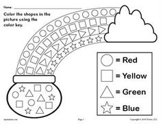 Patrick's Day themed shapes coloring worksheet is great for practicing shape recognition, color recognition, fine motor skills, and more with your preschoolers and kindergartners. March Crafts, St Patrick's Day Crafts, Preschool Activities, Day Care Activities, Preschool Journals, Preschool Prep, Maracas Craft, Sant Patrick, Shape Coloring Pages