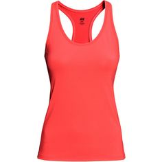 H&M Sports top (€11) ❤ liked on Polyvore featuring activewear, neon coral, neon activewear, sports activewear and h&m