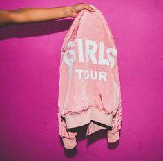 Girls on tour pink satin bomber jacket is LIFE