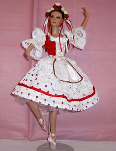 From the ballet Coppelia, this Swanhilda costume was created for 16 inch Tonner ballerina doll. Ballet Costumes, Dance Costumes, Ballerina Barbie, Enchanted Doll, Crochet Barbie Clothes, Laurel Burch, Barbie Friends, Ballet Dancers, Miniature Dolls