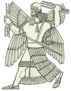 Ninurta, Sumerian god of the plough attacks Anzu to regain the stolen Tablets of Destinies. A birdlike monster called Imdugud (Akkadian: Anzû)  steals the Tablets of Destiny from Enlil. The Tablets were believed to contain the details of fate and the future.  Ninurta- Akkadian myth: god of war and hunting, and patron god of agriculture. his father is the god Enlil. He had a talking mace named Sharur. He was associated with Saturn.