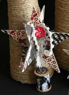 jbs inspiration: Holiday Star Ornaments by Danielle Flanders Christmas Past, Vintage Christmas, Christmas Holidays, Christmas Decorations, Christmas Ornaments, Christmas Ideas, Xmas, Chipboard Crafts, Paper Crafts