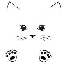 Illustration of Vector black outline drawing cute cat girl face with paws vector art, clipart and stock vectors. Cat Outline, Outline Drawings, Easy Drawings, Cat Face Drawing, Contour Drawing, Drawing Faces, Cute Cat Drawing, Draw Cats, Cute Cat Face