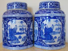 Pair of Chinese Chinoiserie Lidded Ginger Jars