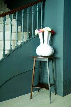 Walls in Studio Green Modern Emulsion, woodwork in Studio Green Estate Eggshell and stairs in Lime White Floor Paint