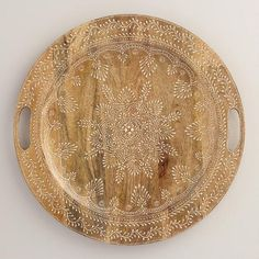 One of my favorite discoveries at WorldMarket.com: Large Round Wood Valeria Tray