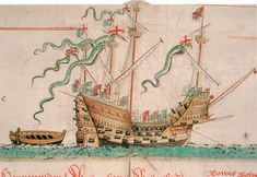 The Mary Rose as depicted in the Anthony Roll.-The Tudor warship 'Mary Rose' sank on July 19,1545 whilst leading the attack against a French invasion fleet in the Solent.