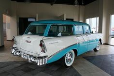 1956 Chevrolet Townsman Station Wagon for sale in Sioux City, Iowa, Gray, Turquoise/White, 235 CID 6 Cylinder Classic Trucks, Classic Cars, Station Wagons For Sale, Chevy Vehicles, Beach Wagon, Chevy Nomad, Sioux City, Classic Chevrolet, Grand Prix