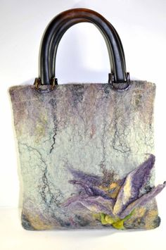 OOAK Hand felted Art Purse Wooden Handles by SoulFibre on Etsy