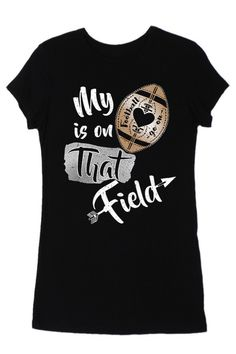My Heart Is On That Field Black Short Sleeve Football Top. Color Bear  Women s Graphic Football T-Shirt Black cb51c0ff8