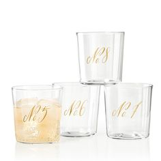 Maybelle Calligraphy DOF Glasses, Set of 4, No. Collection | Mark and Graham