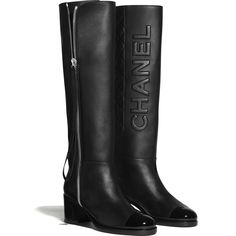 Discover the CHANEL Calfskin & Patent Calfskin Black High Boots, and explore the artistry and craftsmanship of the House of CHANEL. Dr Shoes, Me Too Shoes, Shoes Sandals, Chanel Boots, Chanel Chanel, Chanel Fashion, Black High Boots, Chanel Store, Black Women Fashion