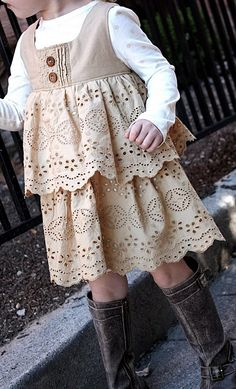 Women's skirt to child dress. I love the antique color. I have a skirt I could tea dye to make something similar to this.