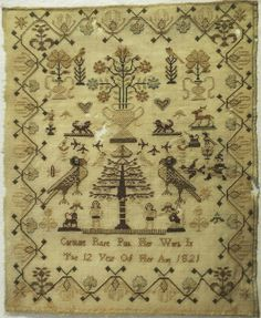 ♒ Enchanting Embroidery ♒ embroidered early 19th century Tree of Life sampler by Caroline Rose Pink, 1821