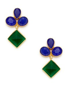 Alchemist Cluster & Tilted Square Drop Earrings / Kanupriya Khurana / Rs 6828  (22K yellow gold plated brass and multi-cut blue chalcedony cluster earrings with faceted green onyx tilted square drop details)