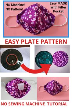 Easy Face Masks, Diy Face Mask, Sewing Hacks, Sewing Tutorials, Sewing Projects, Diy Masque, Pocket Pattern, Mask Making, Sewing Techniques
