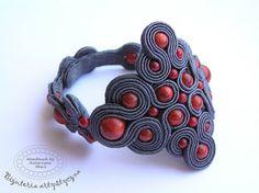 www.facebook.com/... Rękodzieło-biżuteria sutasz Handmade - Soutache jewellery. #bracelet #coral #bransoletka #koral #pomyslynaprezent