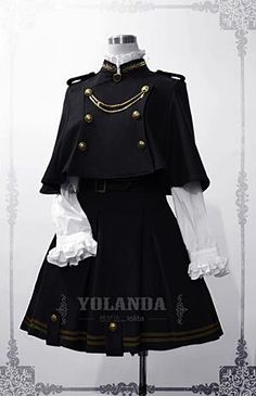 This Yolanda uniform style velvet lolita dress/outfit features the military style. The whole outfit is tailored by velvet with inside layer by polyester. This lolita outfit is for Autumn and Winter, with a big cape which is changeable. Pretty Outfits, Pretty Dresses, Cool Outfits, Scene Outfits, Old Fashion Dresses, Fashion Outfits, Fashion Days, Kawaii Fashion, Cute Fashion