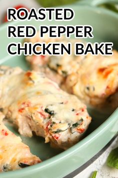 Roasted Red Pepper Chicken Bake Recipe | Six Sisters' Stuff A little spice and creamy sauce is always a delicious combo! With our roasted red pepper chicken bake, you get all of those amazing flavors from the peppers, cream cheese, and mozzarella! Chicken Stuffed Peppers, Pepper Chicken, Spinach Stuffed Chicken, Chicken Roasted Red Pepper Recipe, Red Pepper Recipes, Recipes With Peppers, Baked Chicken Recipes, Light Chicken Recipes, Diabetic Chicken Recipes
