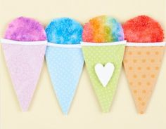 Paper Snow Cone - Would make very cute party invitations. #papercraft