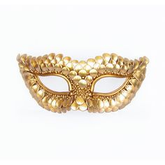 Made To Order - Gold Masquerade Mask With Fish Scales Texture -... ($45) ❤ liked on Polyvore featuring costumes, masks, accessories, fish halloween costume, masquerade costumes, dragon halloween costume, ladies halloween costumes and masquerade halloween costumes