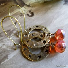 Fall's Circle  Handmade Earrings with Picasso by RusticAdornments