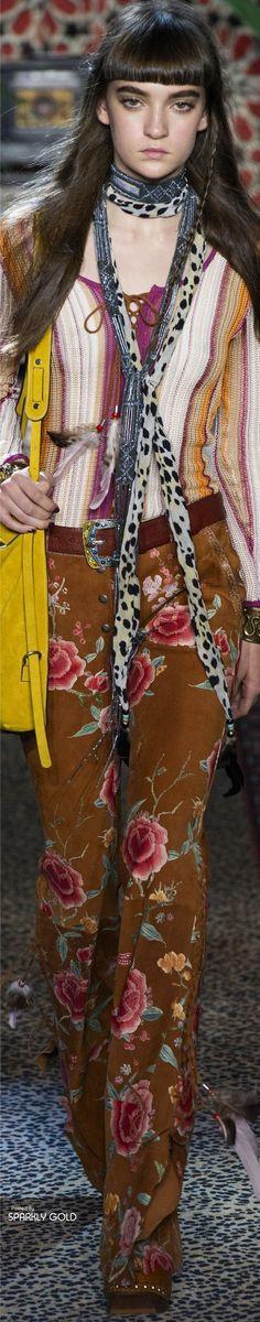 Adore the lacing & trinkets on trouser side-seams ~ Cortigiana re.  Roberto Cavalli Spring 2017 RTW