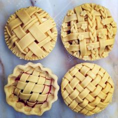 A selection of the many latticed mini pies I made this morning. Mostly apple, but also cherry (looking juicy already!), apple-cherry and apple-rhubarb. Lots of fun playing with the pastry, but it kind of made me want one of those Play Doh barbershops (oh, how one remembers the toys they DIDN'T get)... #pie #minipie #apple #applepie #cherry #cherrypie #rhubarb #rhubarbpie #baking #pastry #lattice #latticecrust #playdoh