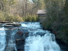 High Falls with a view of the covered bridge in Dupont State Forest.