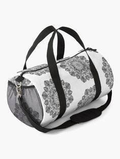 """Black Mandala Pattern - Just Let Go"" Duffle Bag by klyngiant   Redbubble Mandala Pattern, Chiffon Tops, Letting Go, Gym Bag, Let It Be, Stuff To Buy, Bags, Accessories, Handbags"