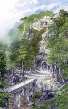 "Illustration by Alan Lee from ""The Hobbit"" by J. Alan Lee, Fantasy Places, Fantasy World, Fantasy Art, Legolas, Gandalf, Lotr, Tolkien Elvish, Dcc Rpg"