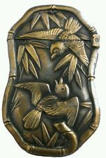 Antique c 1890 Japanese Bamboo & Birds Brass Match Safe Vesta Case Box holder