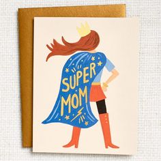 """Let your mom know she's a super mom with this fantastic, Rifle Paper Co. card featuring gold foil text spelling out the words, """"Super Mom."""" Blank on the inside and paired with an antique gold envelope.  4 1/4"""" x 5 1/2"""" Mothers Day Crafts For Kids, Diy Mothers Day Gifts, Happy Mothers Day, Mothers Day Quotes, Diy Gifts, Birthday Cards For Mother, Happy Birthday Mom, Diy Mother's Day Crafts, Mother's Day Diy"""